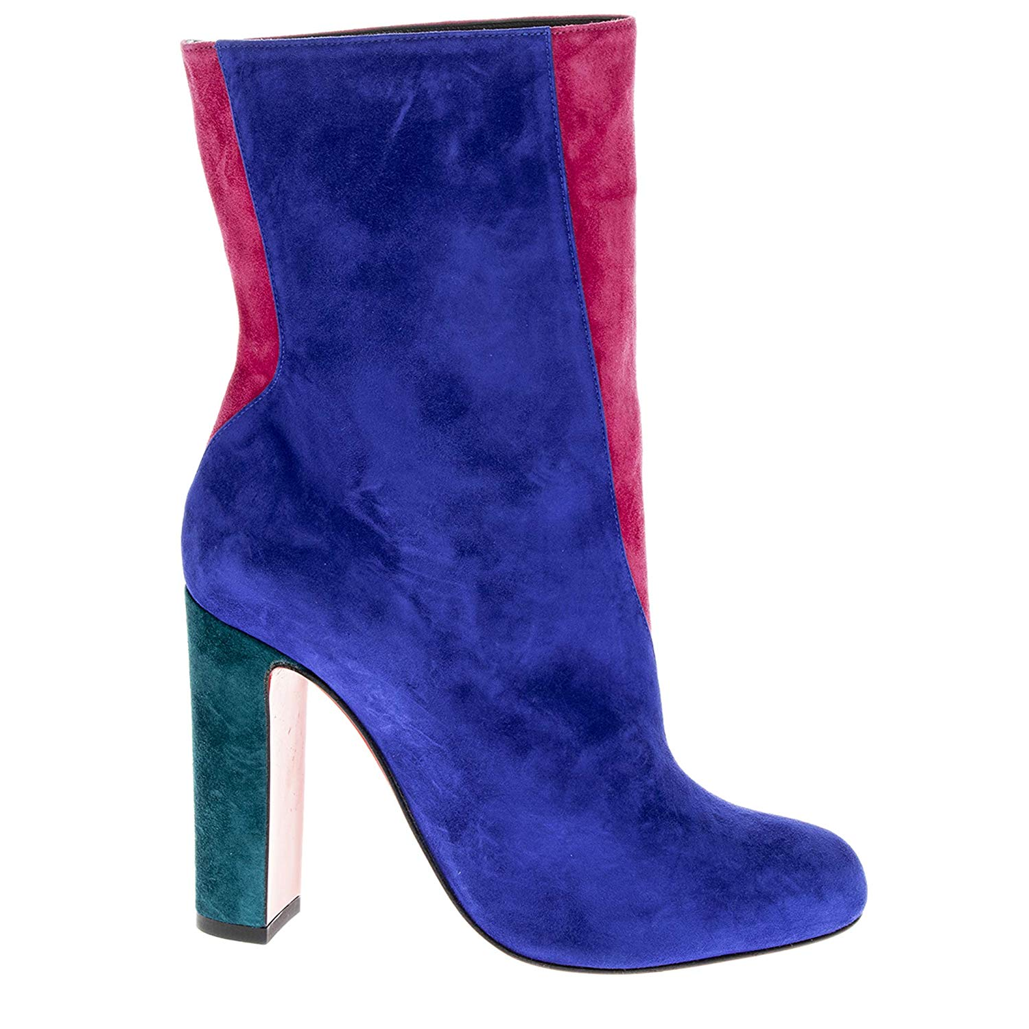 Christian Louboutin Botty Double Colorblock Suede Booties Blue Pink 02