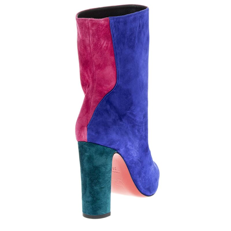 Christian Louboutin Botty Double Colorblock Suede Booties Blue Pink 03