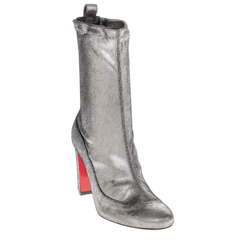 Christian Louboutin Gena 85 Metallic Silver Leather Stretch Mid Calf Bootie 01