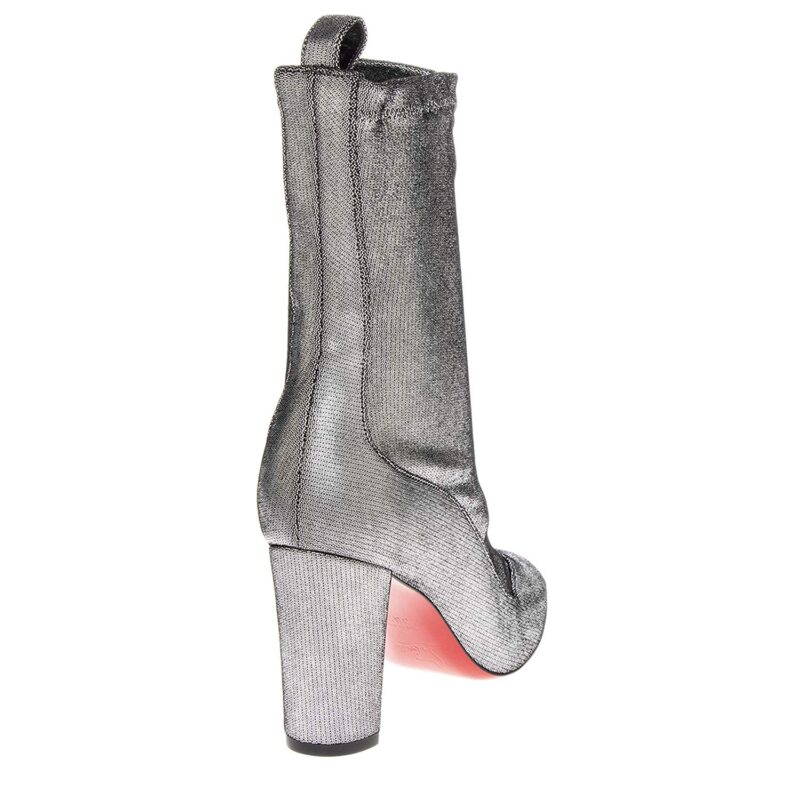 Christian Louboutin Gena 85 Metallic Silver Leather Stretch Mid Calf Bootie 02