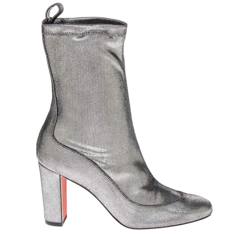 Christian Louboutin Gena 85 Metallic Silver Leather Stretch Mid Calf Bootie 03