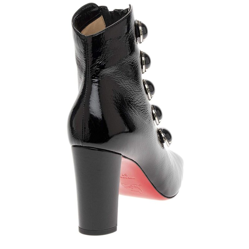Christian Louboutin Lady See Vintage Patent Calf Leather Booties Black Pic 2