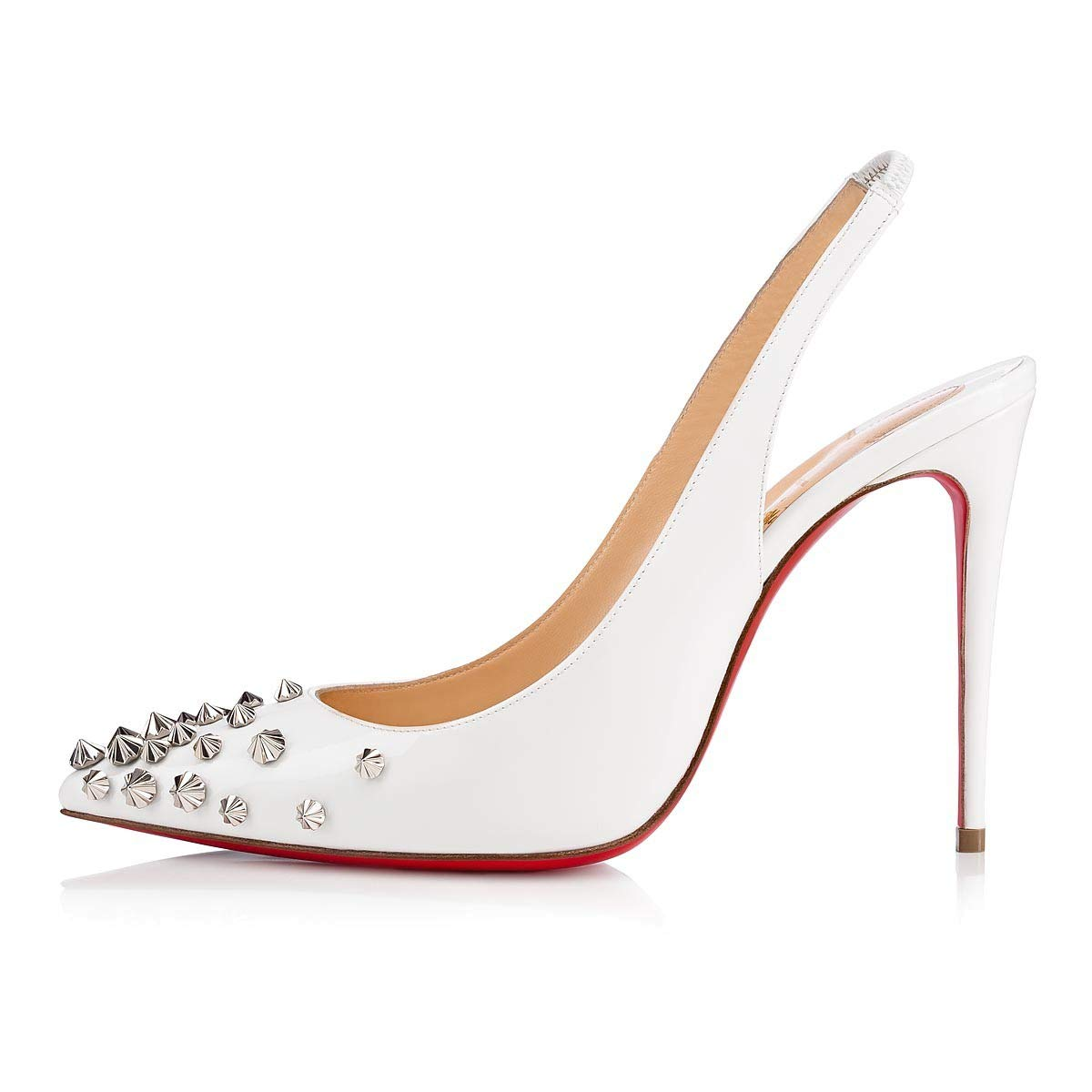 Christian Louboutin White Studded Drama Sling Pumps 100MM Leather 01