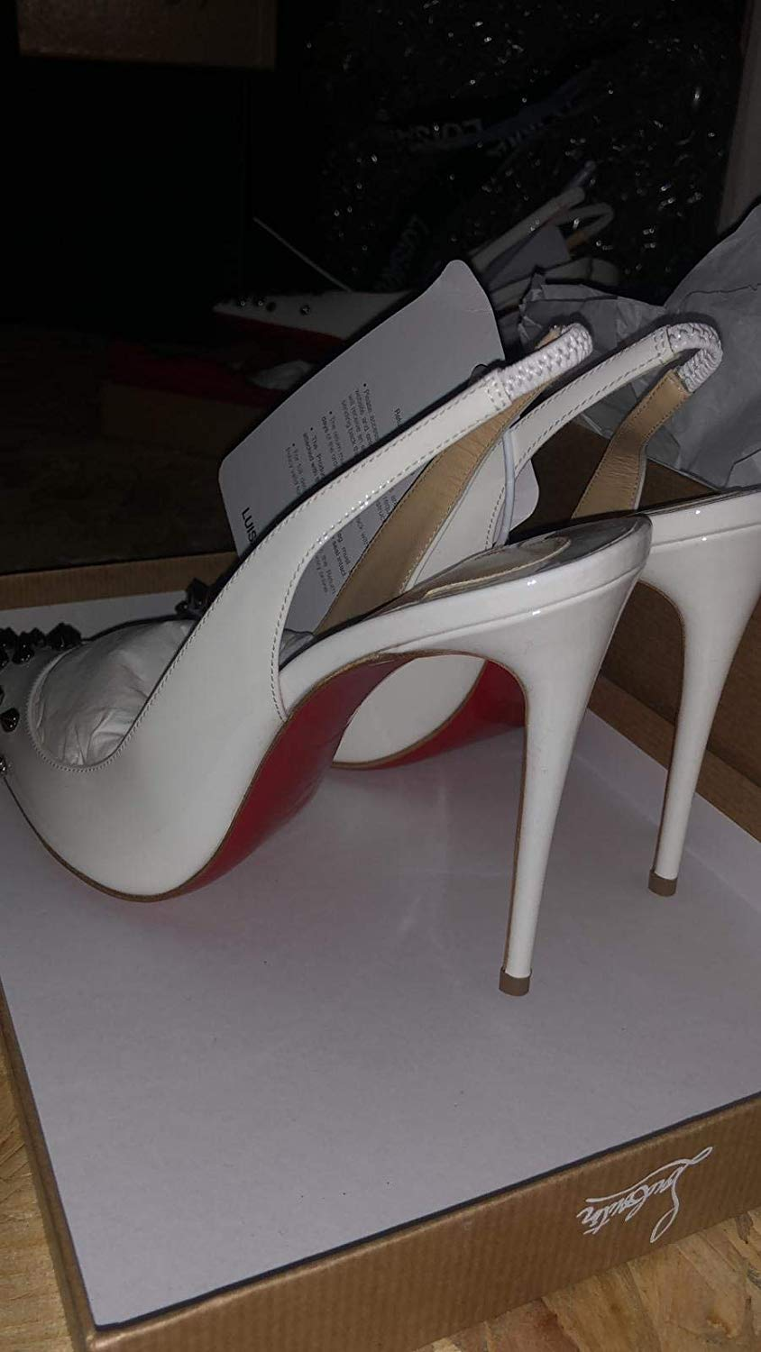 Christian Louboutin White Studded Drama Sling Pumps 100MM Leather 04