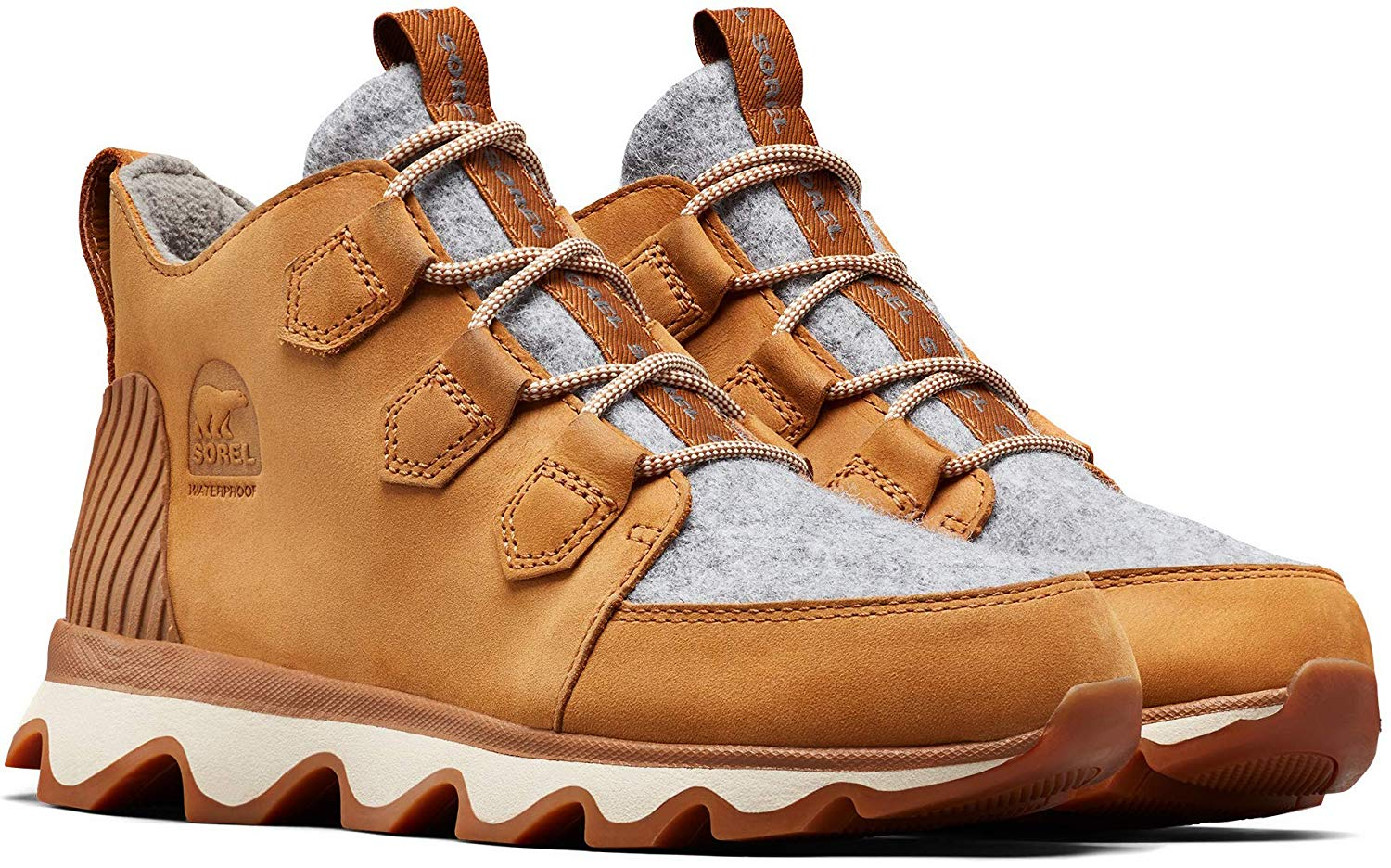 Sorel Kinetic Caribou Insulated Sneakers for Winter Camel Brown